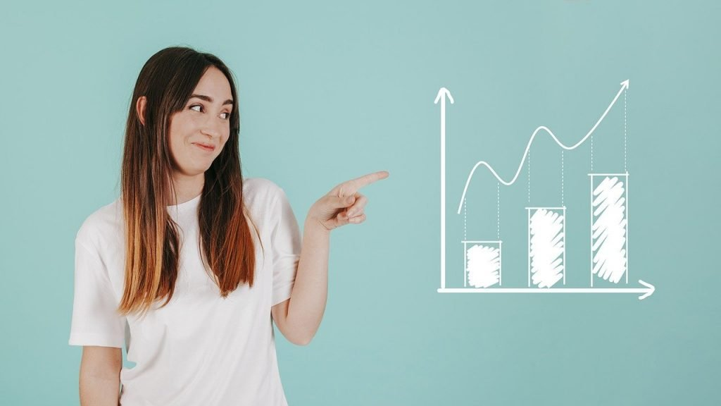chart, analytics, woman